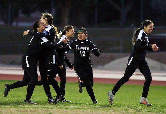 02/06/19 Taya Gray, Special to The Desert SunCathedral City celebrates a goal during the first half of the CIF playoff game against Rialto in Cathedral City on Wednesday, February 6, 2019.
