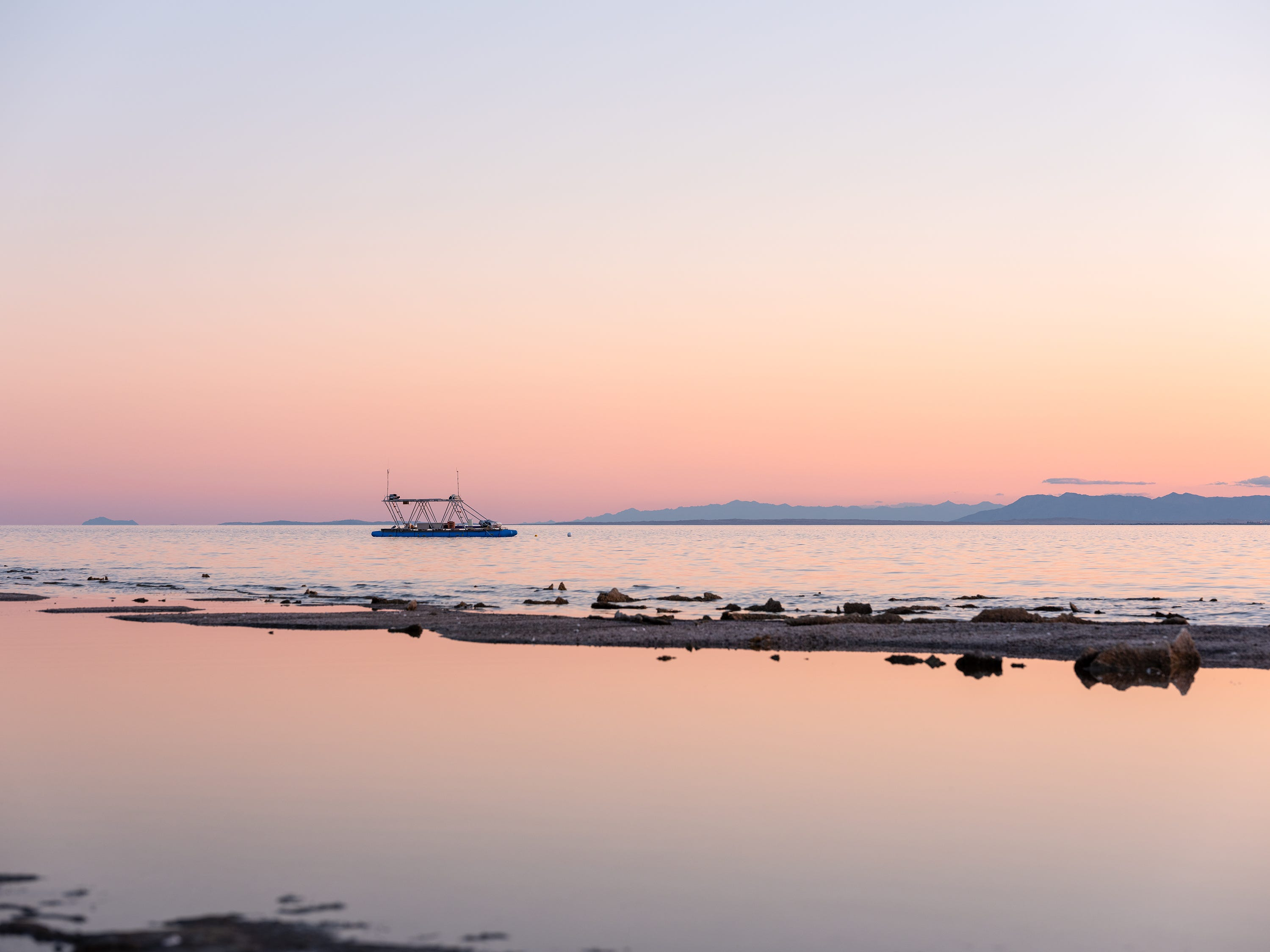 """Terminal Lake Exploration Platform"" by Chris Taylor and Steve Badgett for Desert X 2019"