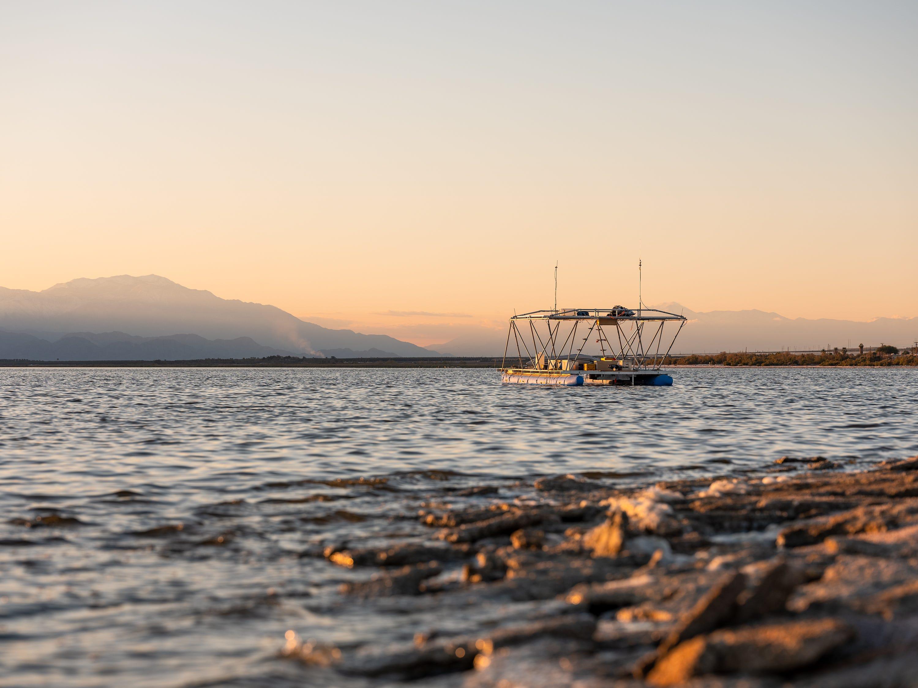"""Terminal Lake Exploration Platform"" by Chris Taylor and Steve Badgett at Desert X 2019"
