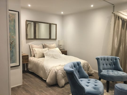 A bedroom inside a model home at Quadrow Modular Systems. The company has designed an accessory dwelling unit, February 6, 2019