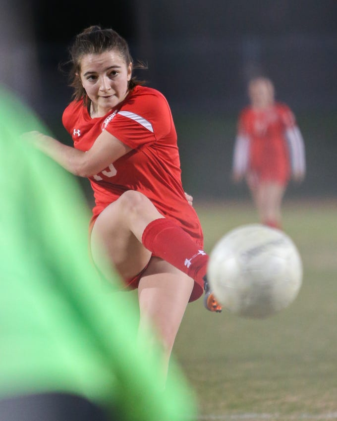 Malia Falk adds another goal on the board. The Palm Desert varsity soccer team won Wednesday's home playoff game against AB Miller by a score of 5-1.