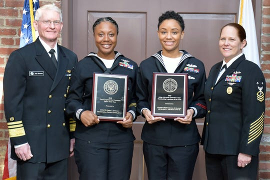 Leaders of the Navy's Judge Advocate General community honored the outstanding service of top enlisted sailors during a ceremony at the Washington Navy Yard on Jan. 25. Legalman 1st Class Decora D. Hawkins, of Detroit, was named the 2018 Legalman of the Year, and Legalman 1st Class Oneka L. Stegall, of Pensacola, was named the 2018 Naval Legal Service Command Sailor of the Year.