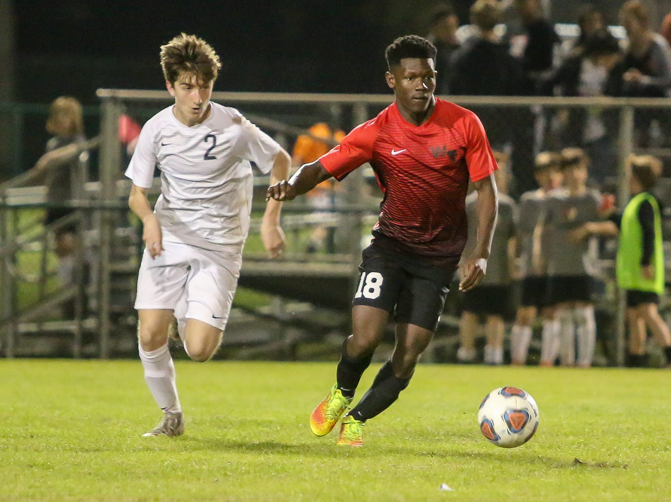 West Florida's Greg Hardy (18) moves the ball up the field as Mosley's Markus McNally (2) chases after him in the Region 1-3A quarterfinal game at Ashton Brosnaham Park on Wednesday, February 6, 2019. Mosley beat West Florida 2-1 and advances to the next round.