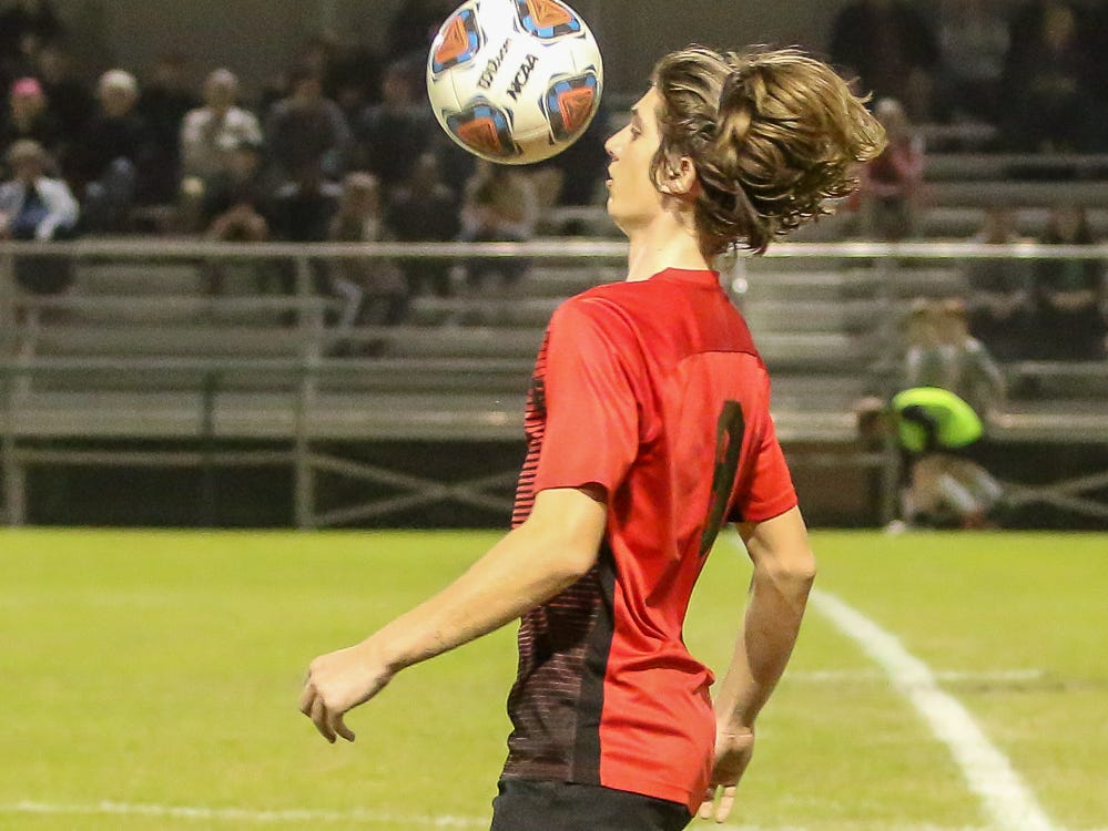 West Florida's Quinn Baker (9) brings down a pass against Mosley in the Region 1-3A quarterfinal game at Ashton Brosnaham Park on Wednesday, February 6, 2019. Mosley beat West Florida 2-1 and advances to the next round.