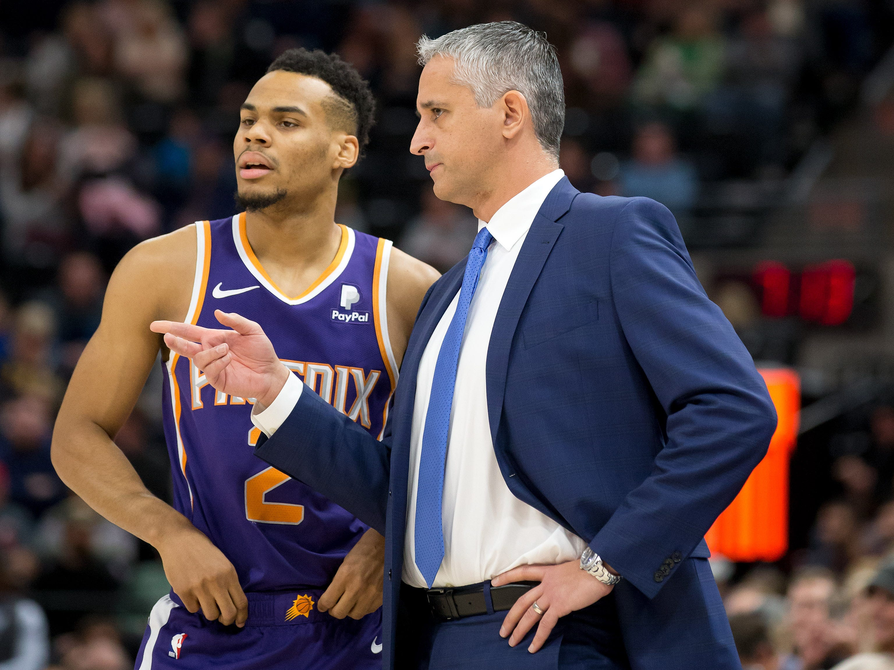 Feb 6, 2019; Salt Lake City, UT, USA; Phoenix Suns head coach Igor Kokoskov talks with guard Elie Okobo (2) during the first quarter against the Utah Jazz at Vivint Smart Home Arena. Mandatory Credit: Russ Isabella-USA TODAY Sports