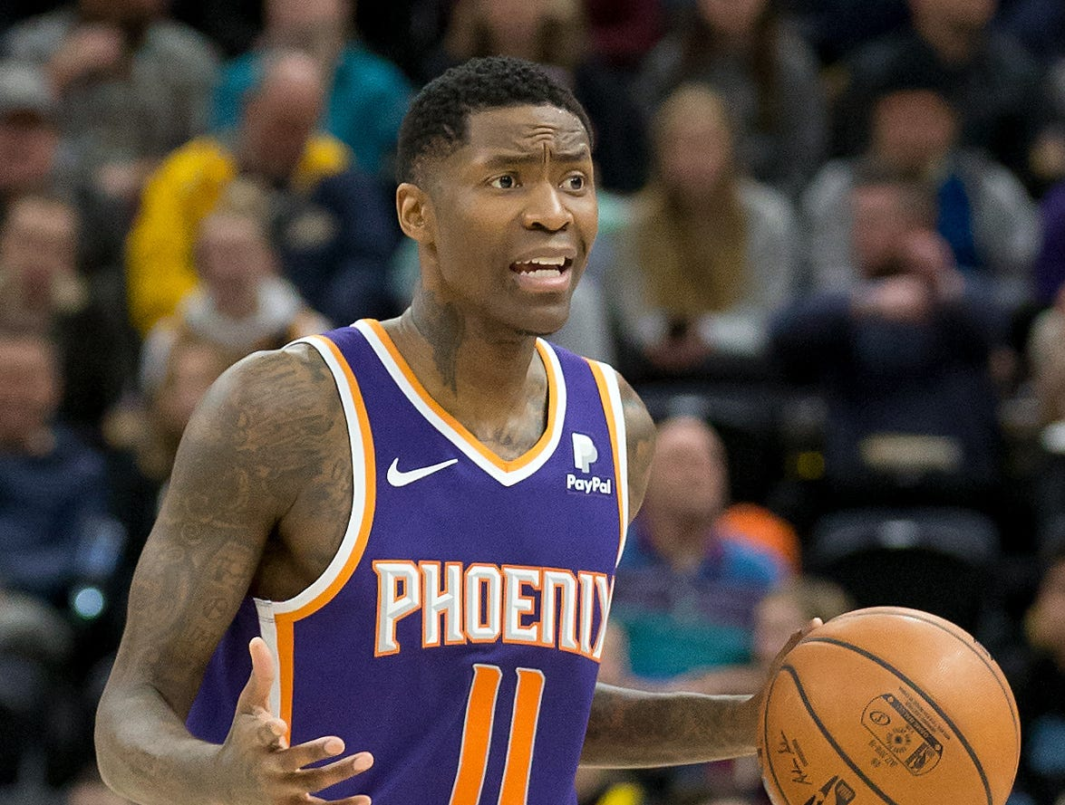 Feb 6, 2019; Salt Lake City, UT, USA; Phoenix Suns guard Jamal Crawford (11) dribbles up the court during the first half against the Utah Jazz at Vivint Smart Home Arena. Mandatory Credit: Russ Isabella-USA TODAY Sports