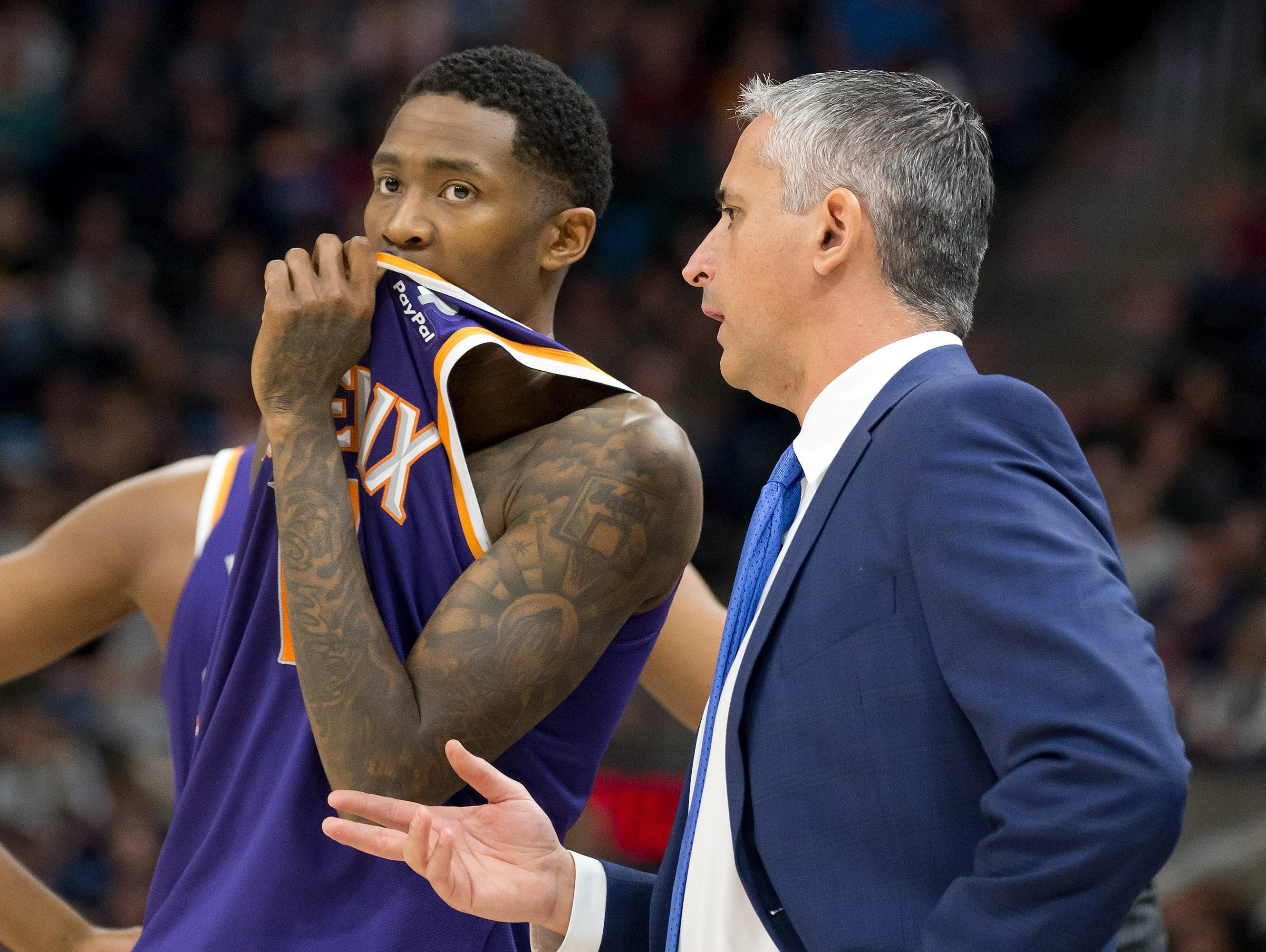 Feb 6, 2019; Salt Lake City, UT, USA; Phoenix Suns head coach Igor Kokoskov talks with guard Jamal Crawford (11) during the first half against the Utah Jazz at Vivint Smart Home Arena. Mandatory Credit: Russ Isabella-USA TODAY Sports