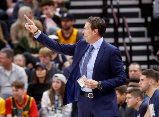 Utah Jazz coach Quin Snyder shouts to his team during the first half of an NBA basketball game against the Phoenix Suns on Wednesday, Feb. 6, 2019, in Salt Lake City. (AP Photo/Kim Raff)