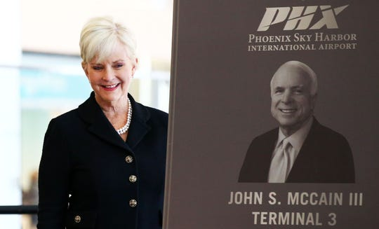 Cindy McCain helps open the renovated south concourse of the newly named John S. McCain III Terminal 3 on Jan. 7, 2019, at Phoenix Sky Harbor International Airport.