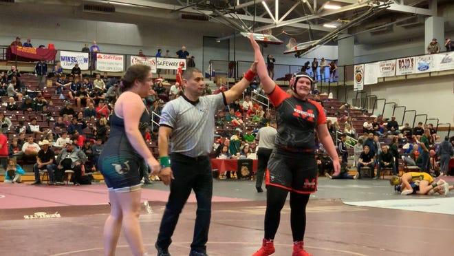 Cottonwood Mingus senior wrestler Danni Schulz defeats Taylor Haney of Chandler Basha
