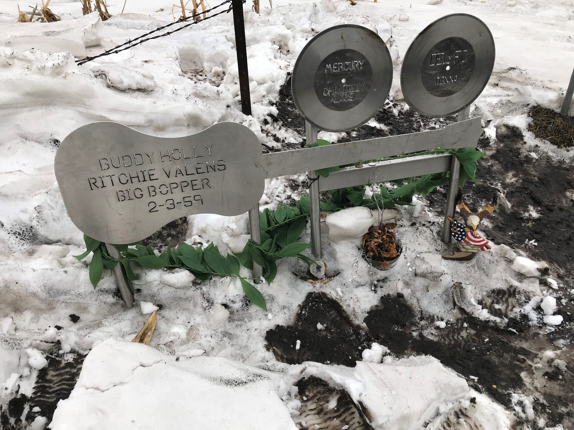 A memorial marks the site of the plane crash that killed Buddy Holly, Ritchie Valens, J.P. Richardson and Roger Peterson, the pilot.
