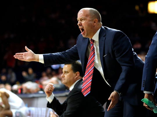 Arizona Assistant Coach Mark Phelps in the first half during an NCAA college basketball game against Oregon State, Saturday, Jan. 19, 2019, in Tucson, Ariz.