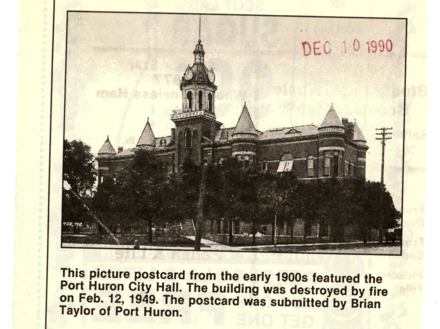 A newspaper clipping shows the Port Huron City Hall as it was seen in the early 1900s. Even though the building was owned by the city, it housed both city and county offices.