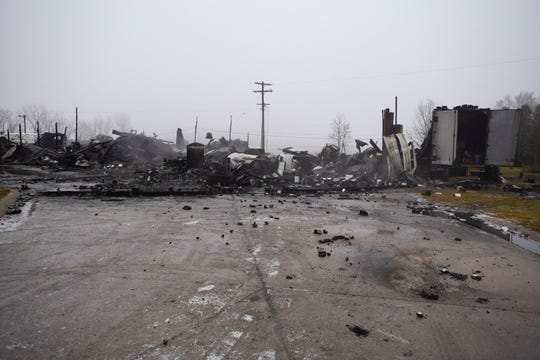 A truck shop owned by Mid Thumb Trucking was destroyed in a fire Thursday in Mussey Township.