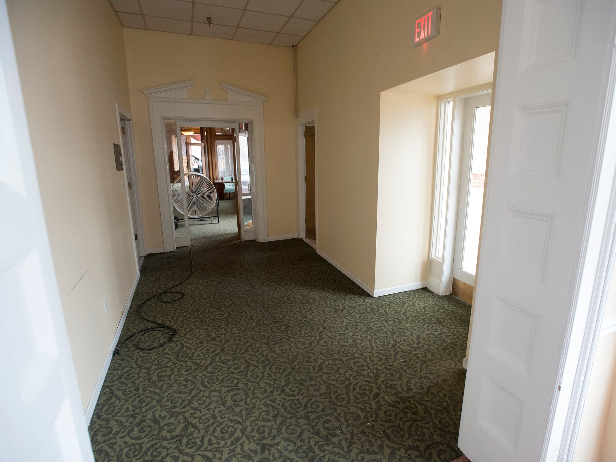 During renovations, the restrooms on the first floor of the hotel will be moved to the back of the restaurant, and the short hallway will be opened up into a gift shop.
