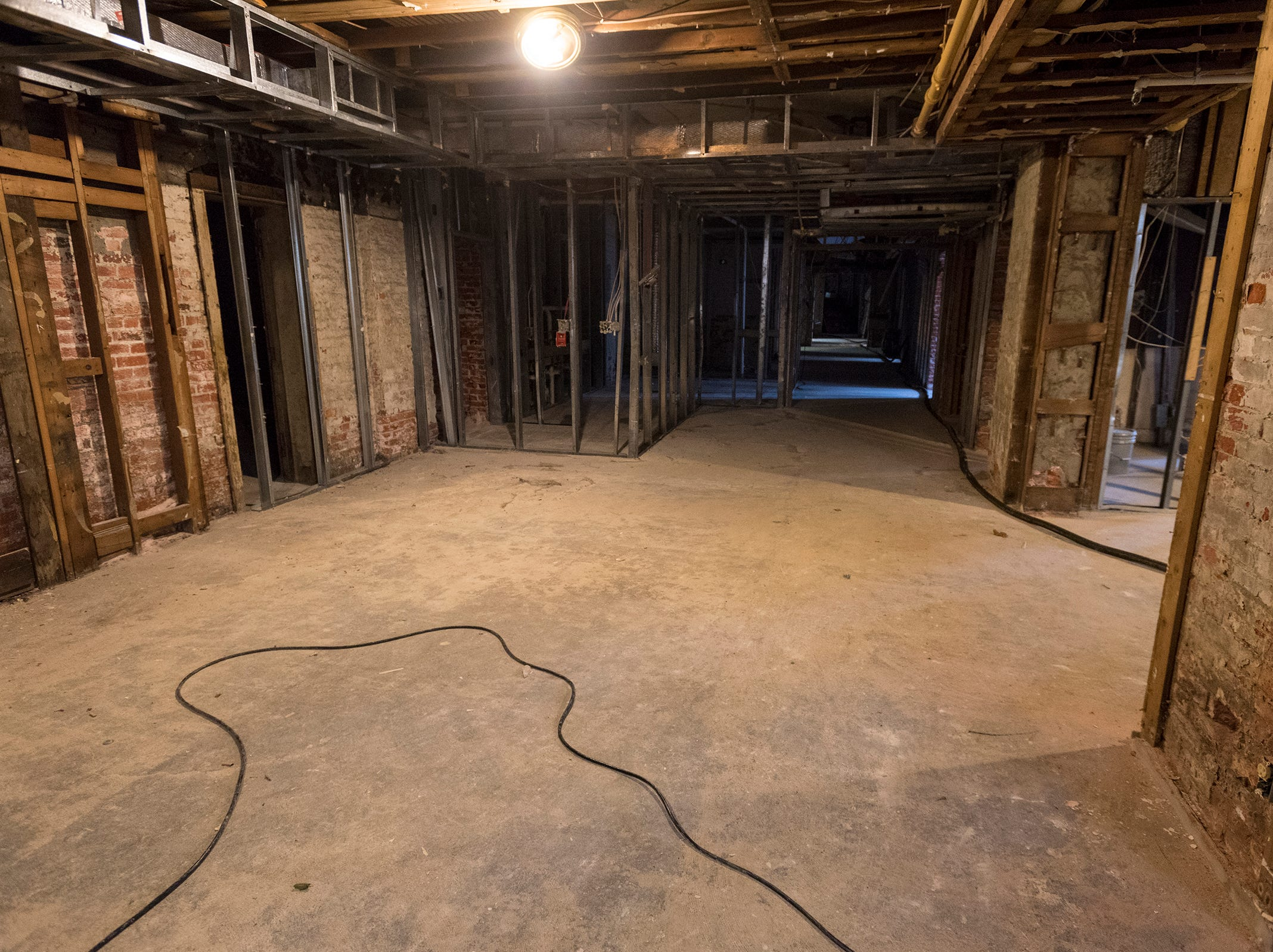 After removing drywall, developers have uncovered the building's brick walls. Developers plan to leave as much of it uncovered in the public spaces in the basement as they can.