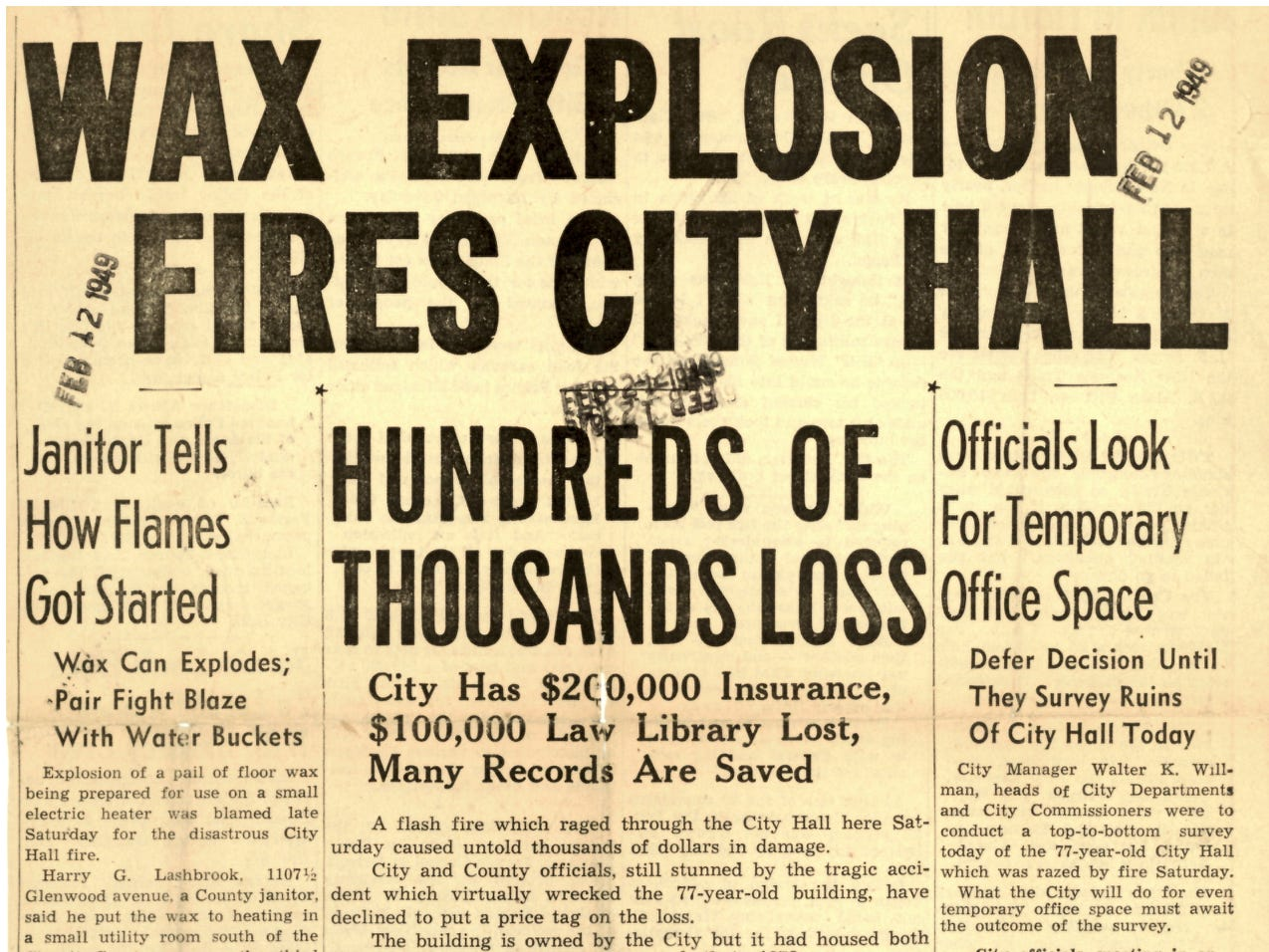 Front page from Sunday, Feb. 13, 1949, the day after the fire.