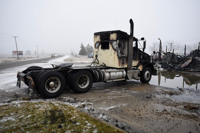 A fire destroyed the Mid Thumb Trucking truck shop on Downey Road in Mussey Township Thursday.