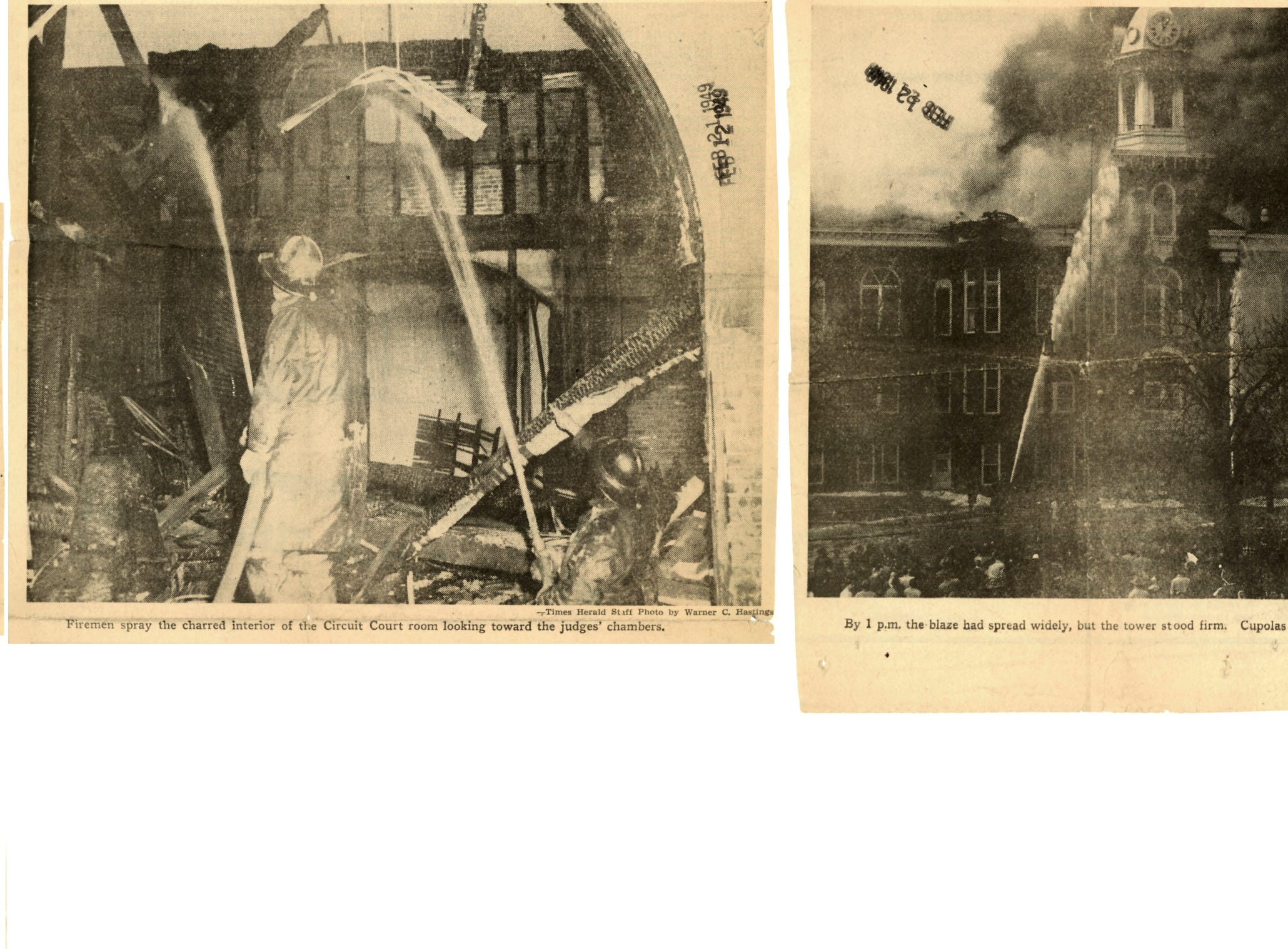 Several photos that ran on the front page of the Times Herald on Feb. 13, 1949 show the destruction of City Hall, and the firefighters trying to contain the blaze.