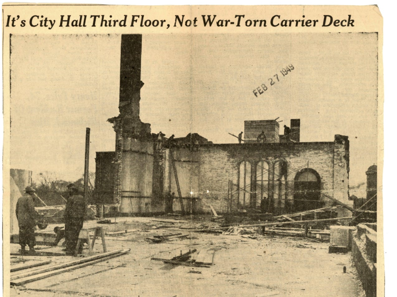 A photo printed in the Times Herald on Feb. 27, 1949 shows the remains of the Circuit Courtroom and offices that were on the third floor of City Hall. Within an hour, the fire had nearly gutten the third floor.