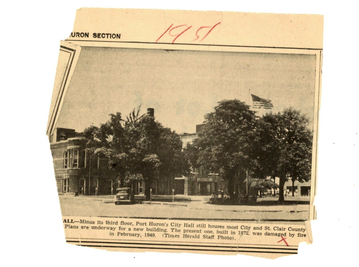 A newspaper clippng from 1951 shows City Hall operating without its third floor. Plans were underway for a new building.