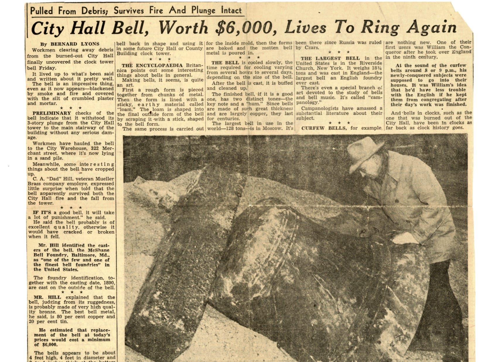 Another clipping from an unknown date in 1949 talks about the discovery of the bell, which fell three stories from the tower to the main stairway of the building. The bell didn't sustain any serious damage from its fall.