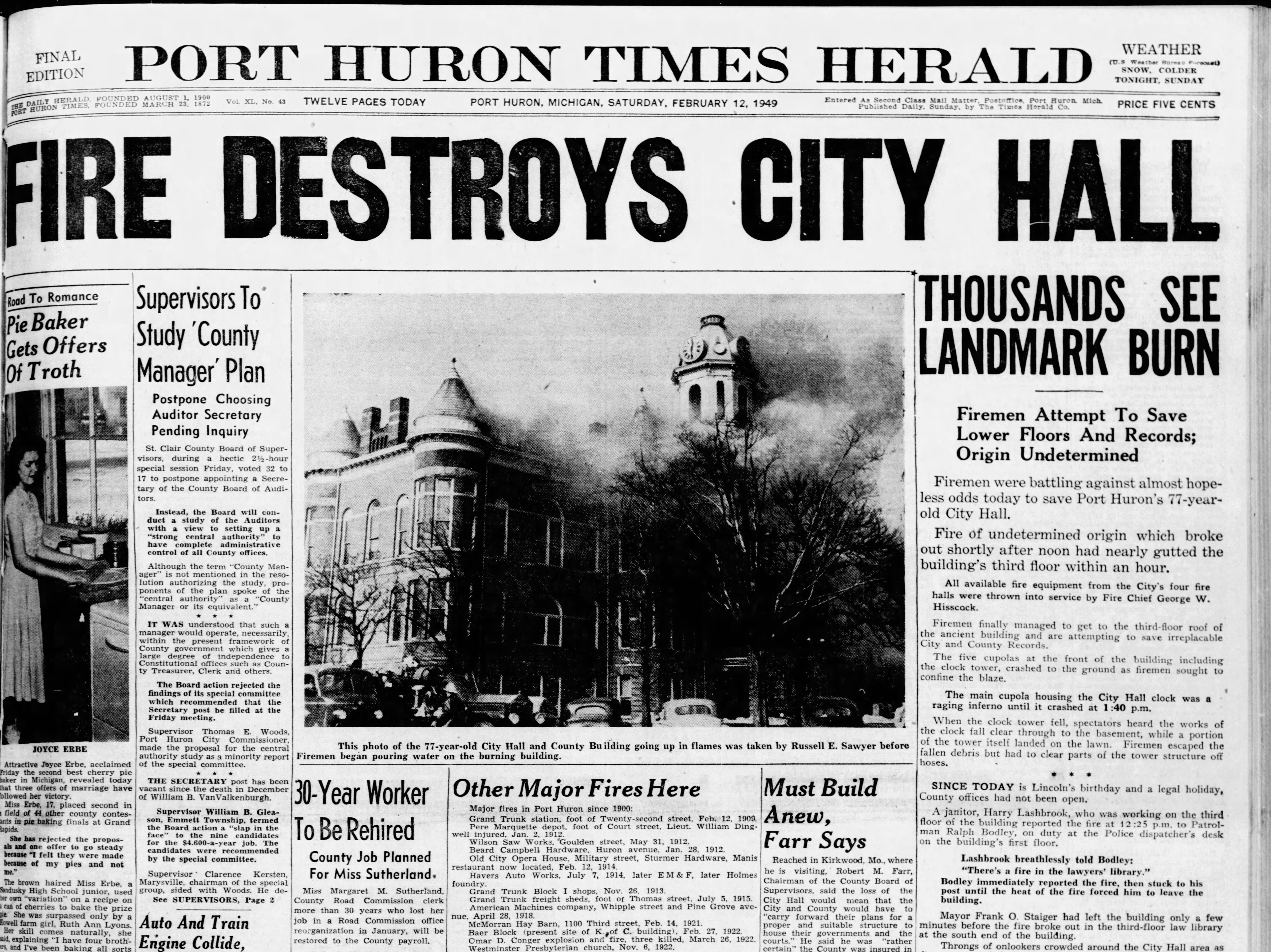 The front page of the Times Herald Saturday, Feb. 12, 1949. The paper was published the same day as the fire.