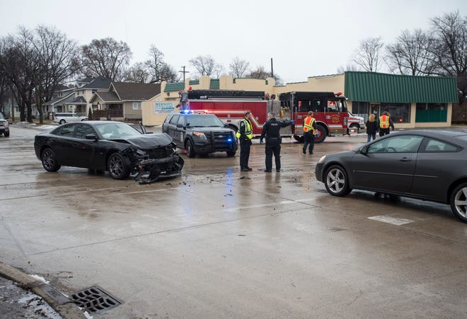 Officers are investigating a crash that occured near 10th and Beard streets Thursday, Feb. 7, 2019. A pedestrian was taken to the hospital and one vehicle fled the scene.