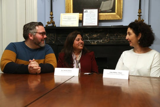 Members of the Dutchess County Commission on Human Rights, from left, Chris St. Germain, Dr. Seema Rizvi and chairperson Jody Miller, meet in the City of Poughkeepsie on February 6, 2019.