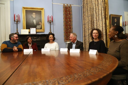Members of the Dutchess County Commission on Human Rights, from left, Chris St. Germain, Dr. Seema Rizvi, Jody Miller, Lance Ringel, Jen Drake and Shirley Adams, meet in the City of Poughkeepsie on February 6, 2019.