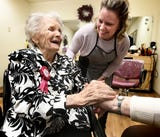 Senior Commons at Powder Mill's oldest resident, Ruth Kohler, celebrates her 104th birthday at the facility.