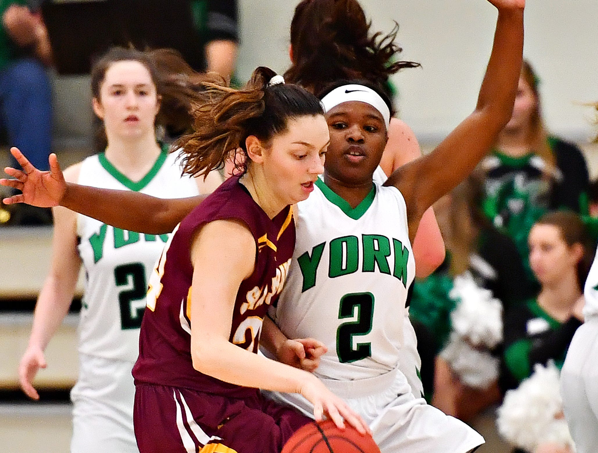 York College's Debria Hendricks, right, guards Salisbury's Megan Konig during women's basketball action at Grumbacher Sport and Fitness Center at York College of Pennsylvania in Spring Garden Township, Wednesday, Feb. 6, 2019. Dawn J. Sagert photo