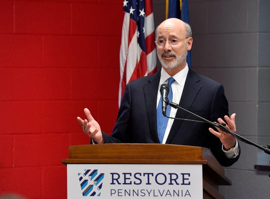 Governor Tom Wolf announces a $4.5 billion initiative to provide improvements to infrastructure including high-speed internet, storm preparedness and disaster recovery and more, Thursday, February 7, 2019 at Dover High School.