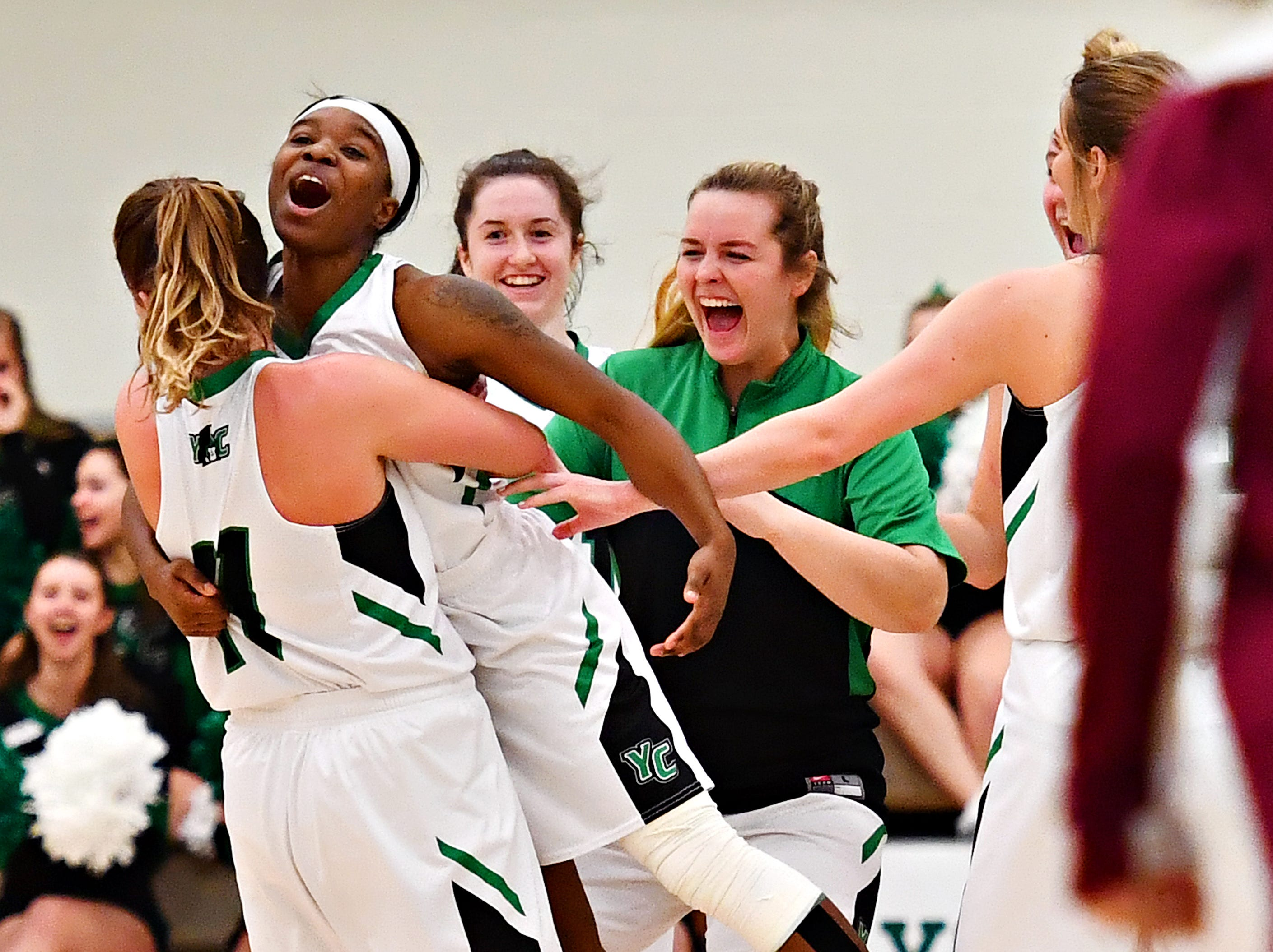York College celebrates after Debria Hendricks scores on the buzzer at halftime during women's basketball action against Salisbury at Grumbacher Sport and Fitness Center at York College of Pennsylvania in Spring Garden Township, Wednesday, Feb. 6, 2019. Dawn J. Sagert photo