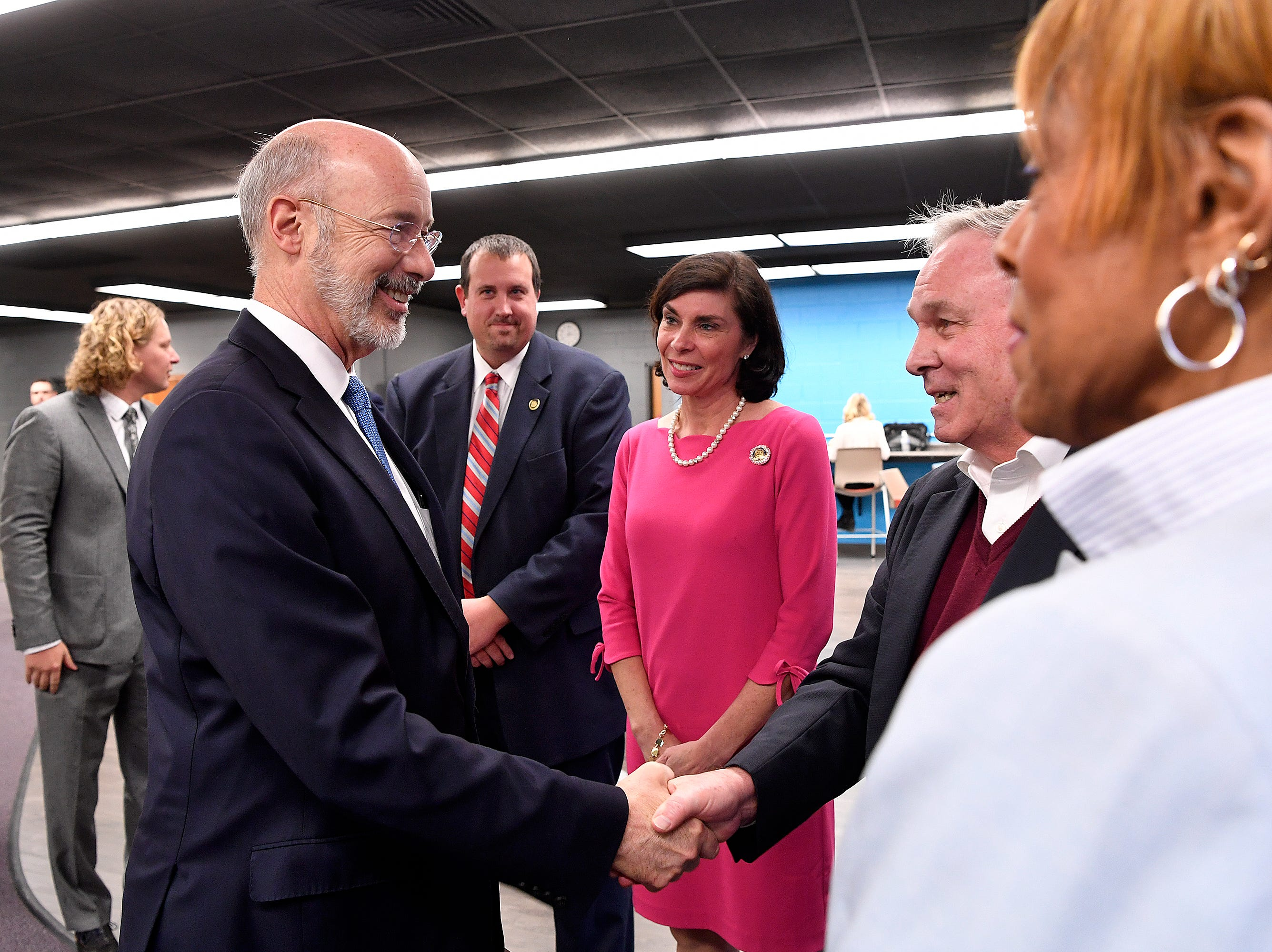 Governor Tom Wolf announces a $4.5 billion initiative to provide improvements to infrastructure including high-speed internet, storm preparedness and disaster recovery and more, Thursday, February 7, 2019 at Dover High School.John A. Pavoncello photo