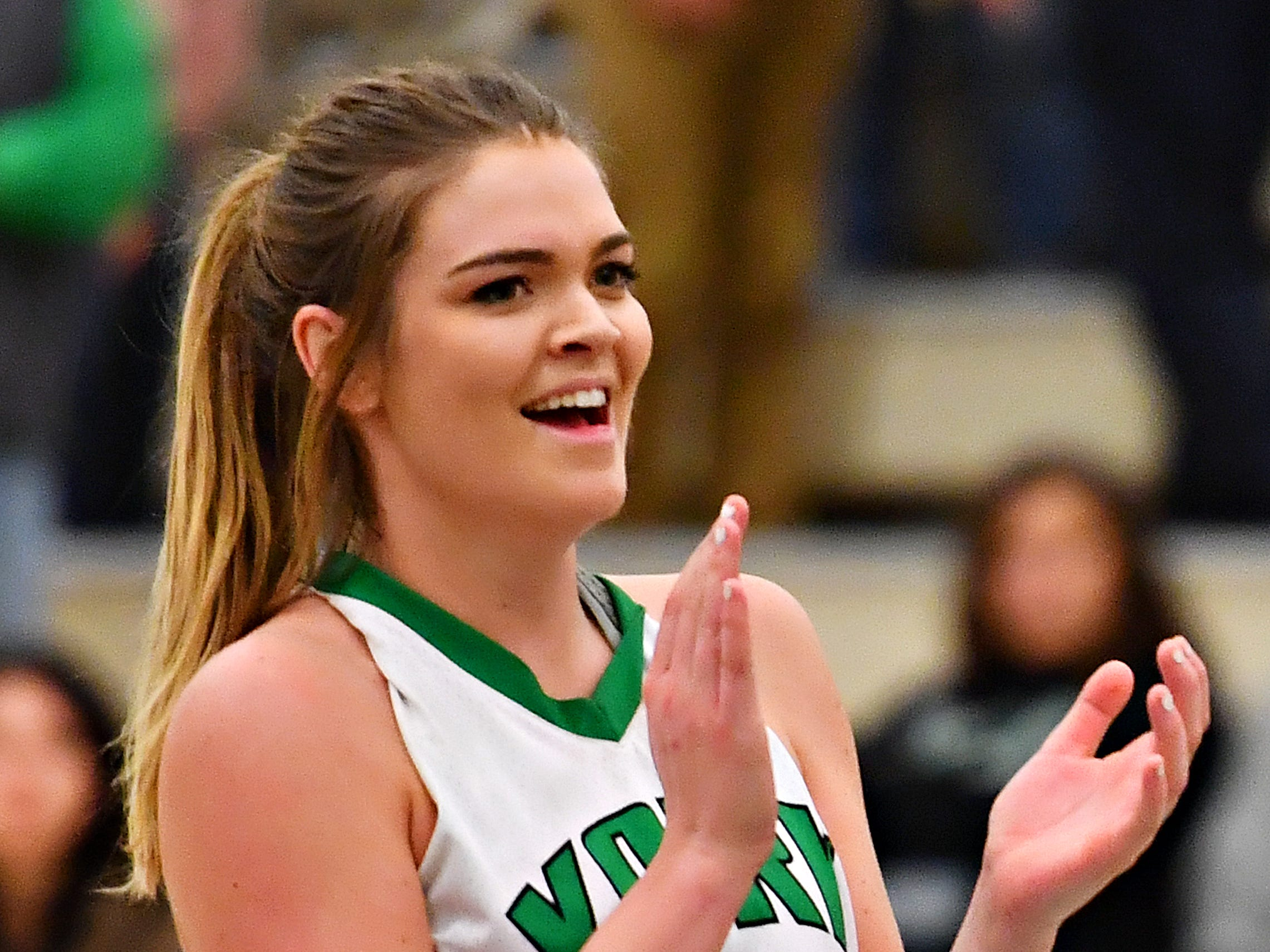 York College's Katie McGowan would score her 1000th game point during women's basketball action against Salisbury at Grumbacher Sport and Fitness Center at York College of Pennsylvania in Spring Garden Township, Wednesday, Feb. 6, 2019. York College would win the game 72-62. Dawn J. Sagert photo