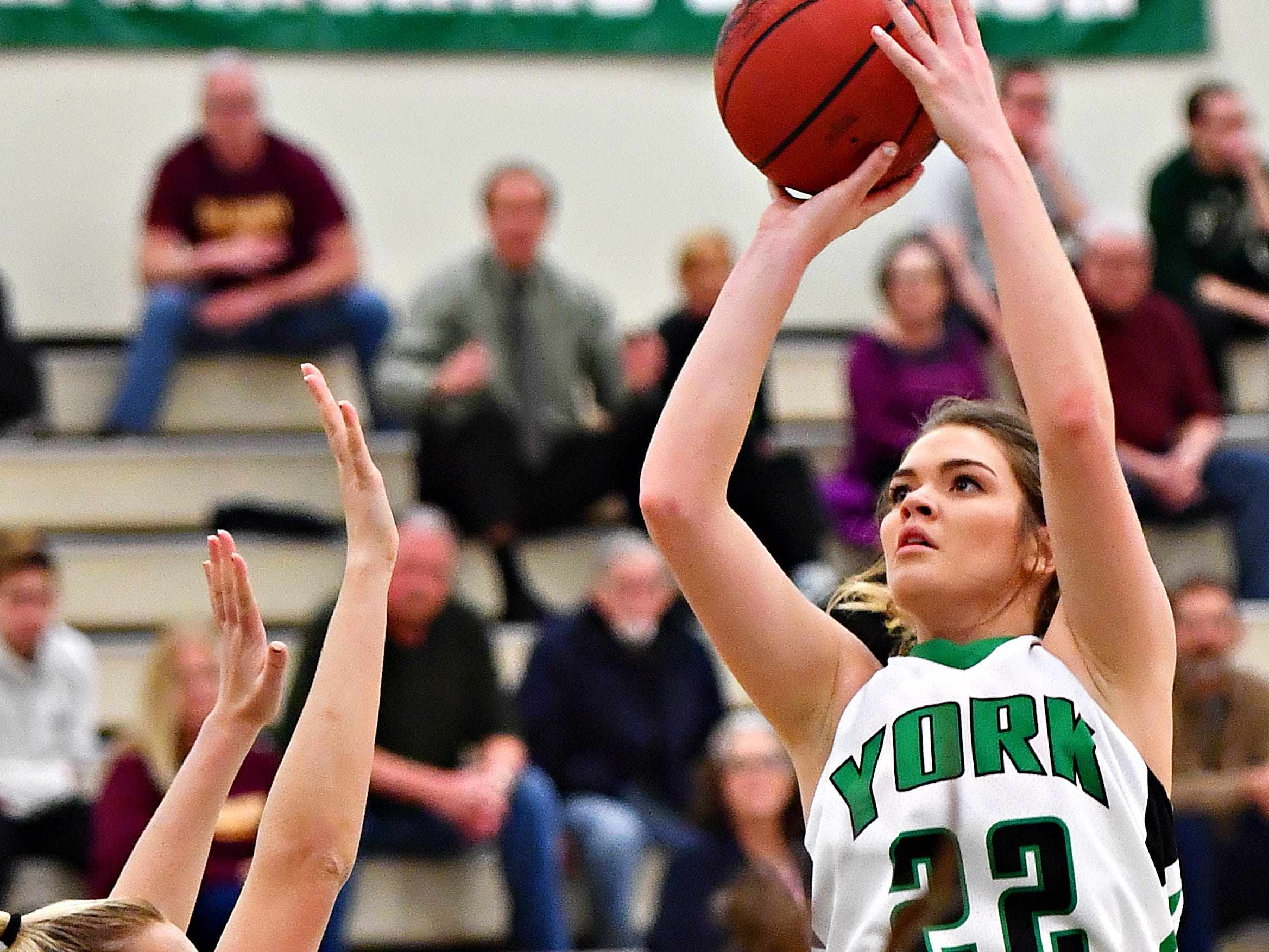 York College's Katie McGowan lines up her shot as Salisbury defends during women's basketball action at Grumbacher Sport and Fitness Center at York College of Pennsylvania in Spring Garden Township, Wednesday, Feb. 6, 2019. Dawn J. Sagert photo