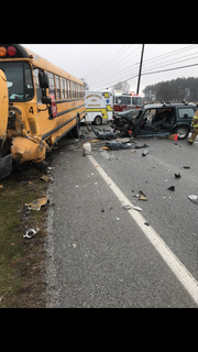Students and their bus driver escaped injury Feb. 7, 2019, when an SUV crossed into their lane and crashed into the front of the bus, Southwestern Regional Police Sgt. Jamie Stalcup said.