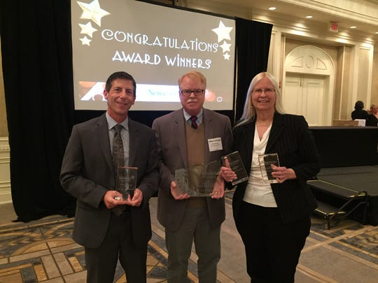 It was a proud moment at the 2018 Pennsylvania Newspaper of the Year Awards. The York Daily Record earned Newspaper of the Year, sharing the honor jointly with the Reading Eagle, and also took three top state awards. Attending the ceremony, from left, were Scott Fisher, community engagement editor; Jim McClure, editor; and Susan Martin, lead content coach.