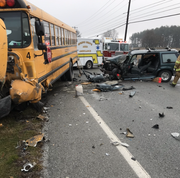 A  crash in North Codorus Township between a school bus and an SUV.