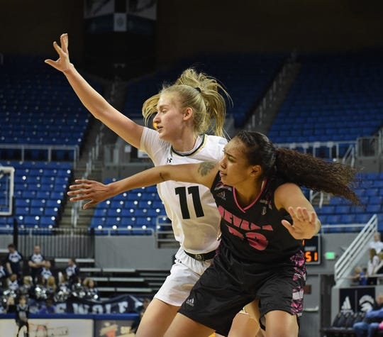 Nevada's Terea Briggs looks to get the pass with with Colorado's Lena Svanholm covering her during Wednesday's game at Lawlor Events Center on Feb. 6, 2019.