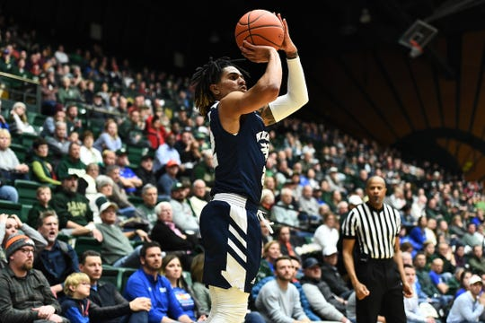 Nevada's Jazz Johnson shoots from the corner against Colorado State on Wednesday.