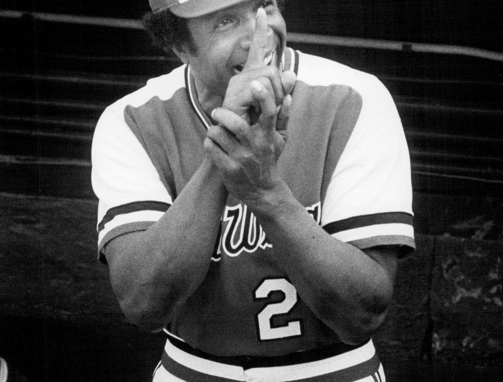 Frank Robinson smiles from the Rochester Red Wings dugout during the 1978 season.