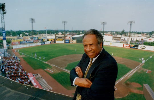 Frank Robinson during a 1991 visit to Silver Stadium. Robinson, who managed the Red Wings in 1978, died on Feb. 7, 2019.
