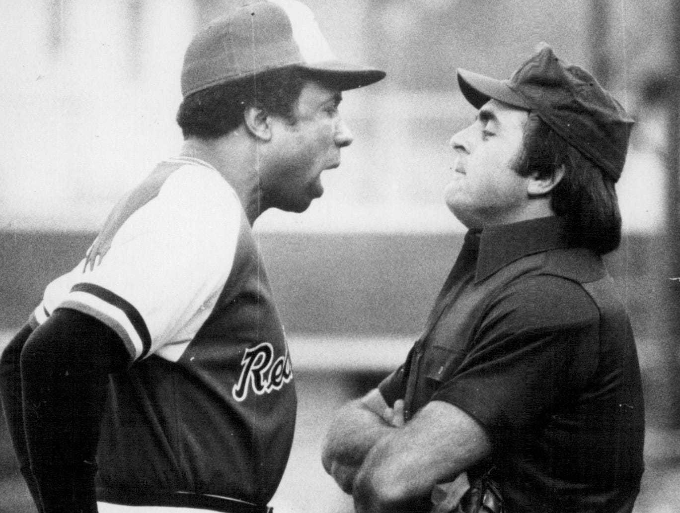 Rochester Red Wings manager Frank Robinson argues with the home plate umpire before being ejected during a game in 1978.