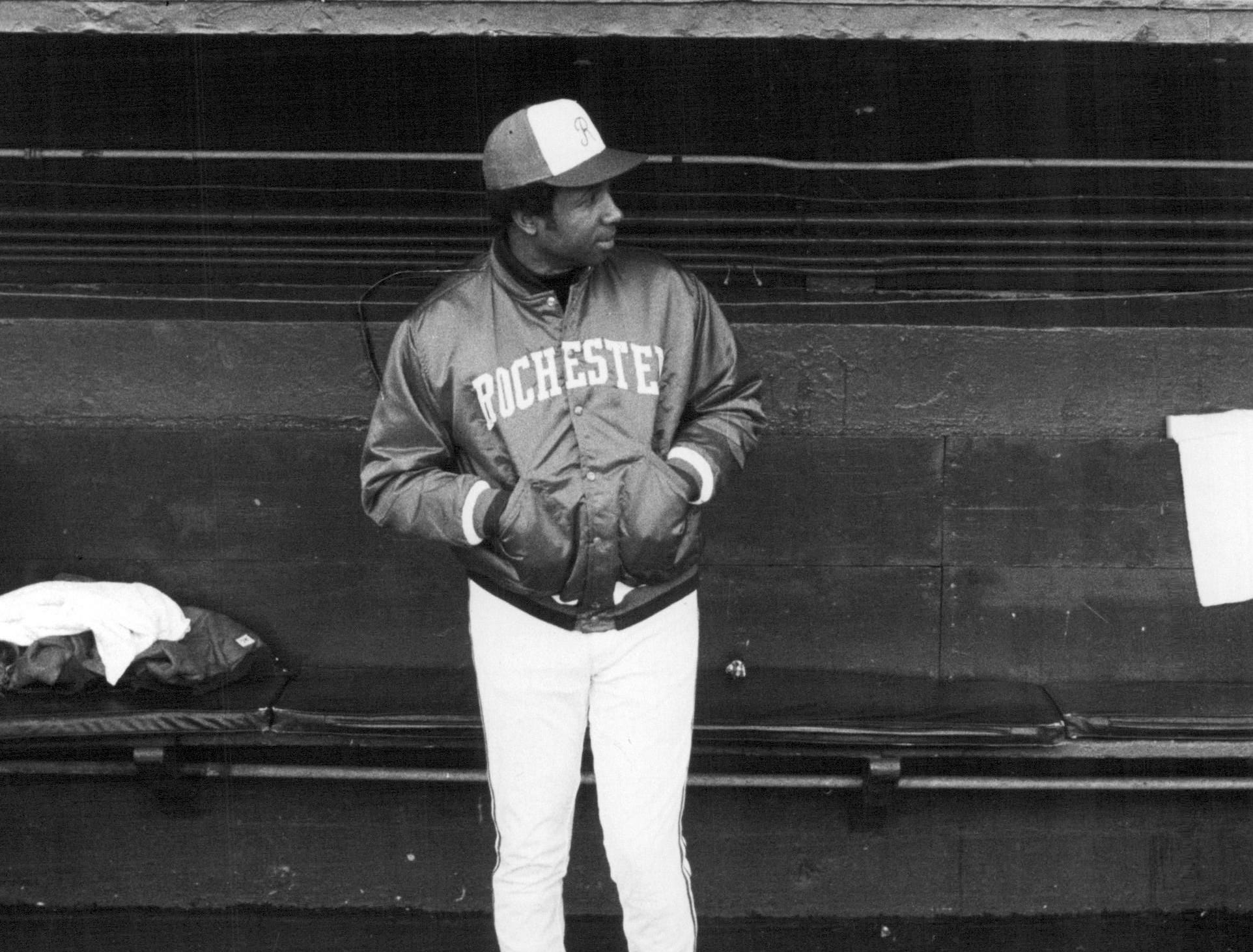 Rochester Red Wings manager Frank Robinson stands in the team's dugout prior to a game during the 1978 season.