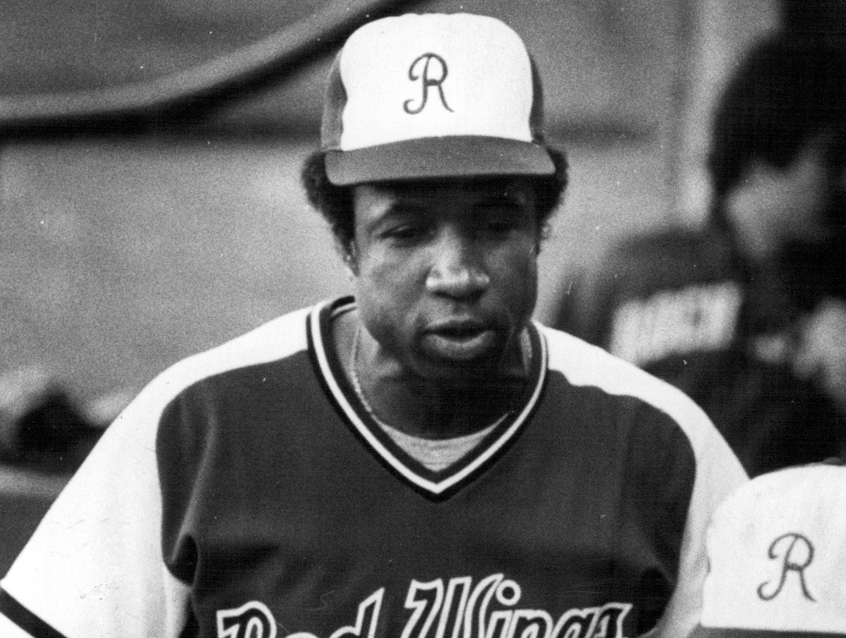 Rochester Red Wings manager Frank Robinson tries to fire up his team during  a 1978 game.