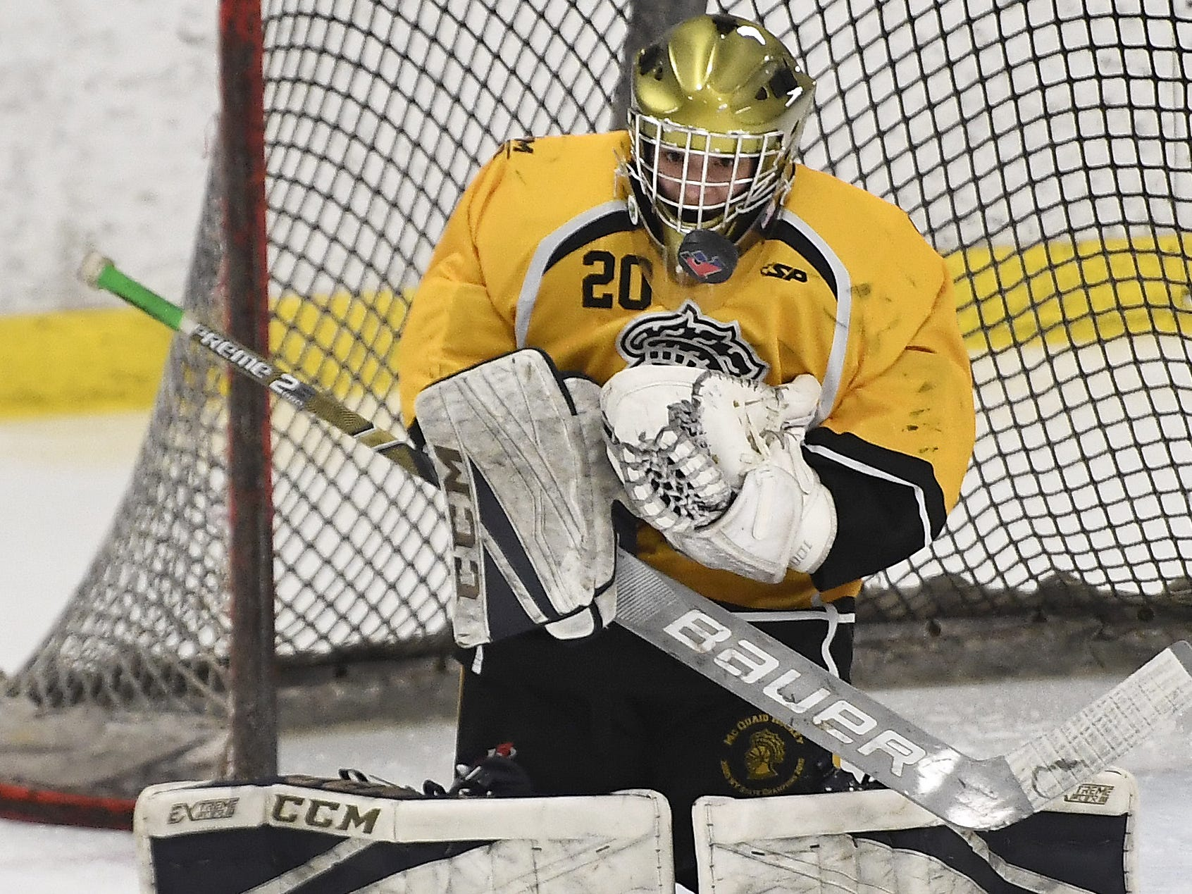 McQuaid goalie David Battisti makes a save during the second period of a regular season game against Fairport played at the Rochester Ice Center, Wednesday, Feb. 6, 2019. McQuaid beat Fairport 5-4 in overtime.