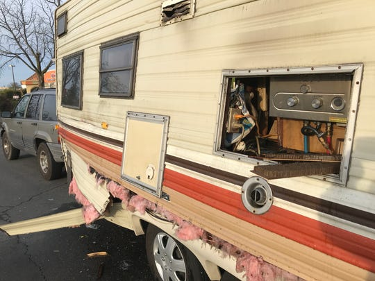 A Redding Fire Department investigator was called out early Thursday morning to a propane explosion and fire inside a travel trailer in the 99 Cents Only Store parking lot in Redding.