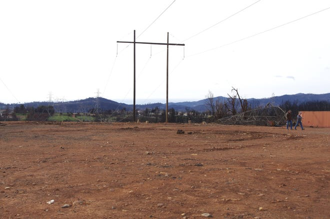 When the Carr Fire burned into Redding in July 2018 the blaze knocked down several transmission lines. Temporary transmission towers were erected shortly after the fire burned through.